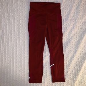 Red Lululemon Crops with Pockets!! Worn Once!